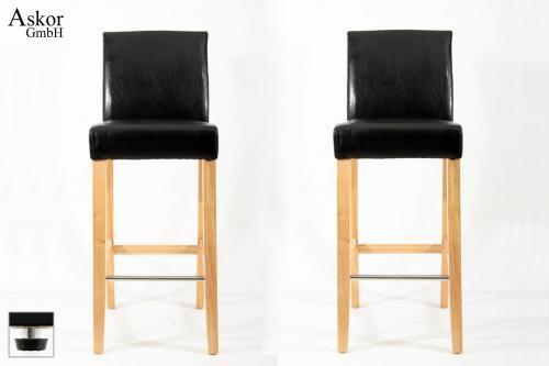 2x barhocker holz schwarz kunstleder verstellbare bodengleiter gepolstert. Black Bedroom Furniture Sets. Home Design Ideas