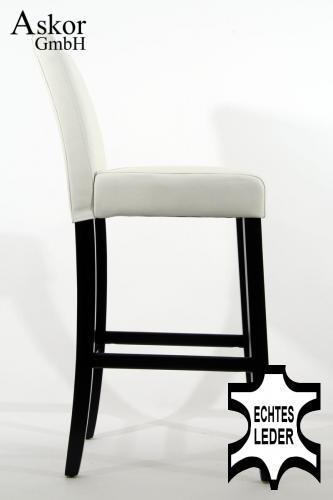 2x barhocker holz wei echt leder gepolstert. Black Bedroom Furniture Sets. Home Design Ideas