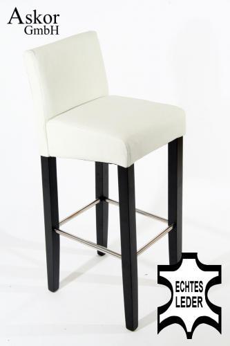 2x barhocker holz wei echt leder gepolstert heusa gmbh. Black Bedroom Furniture Sets. Home Design Ideas