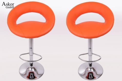 2x barhocker orange kunstleder drehbar h henverstellbar for Barhocker orange