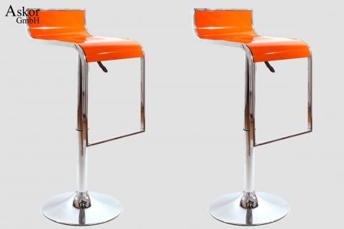 2x barhocker orange kunststoff drehbar h henverstellbar for Barhocker orange