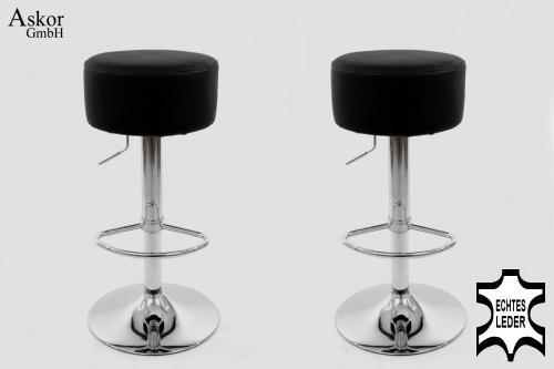2x barhocker schwarz echt leder drehbar h henverstellbar. Black Bedroom Furniture Sets. Home Design Ideas