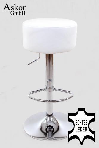 2x barhocker wei echt leder drehbar h henverstellbar gepolstert heusa gmbh. Black Bedroom Furniture Sets. Home Design Ideas