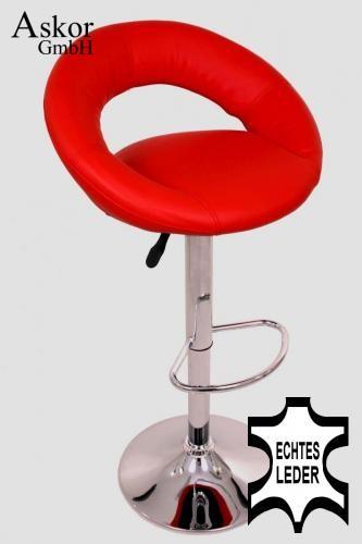 barhocker 2x rot echt leder h henverstellbar. Black Bedroom Furniture Sets. Home Design Ideas