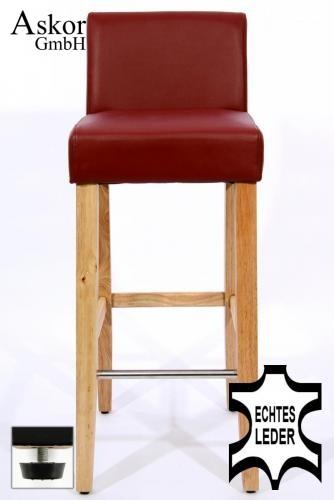 barhocker holz weinrot echt leder verstellbare bodengleiter gepolstert. Black Bedroom Furniture Sets. Home Design Ideas