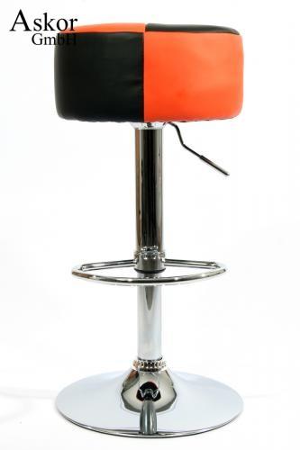 Barhocker Orange barhocker orange schwarz kunstleder drehbar höhenverstellbar
