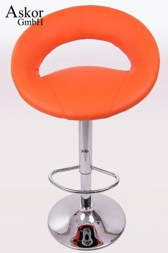 Barhocker orange kunstleder drehbar h henverstellbar for Barhocker drehbar