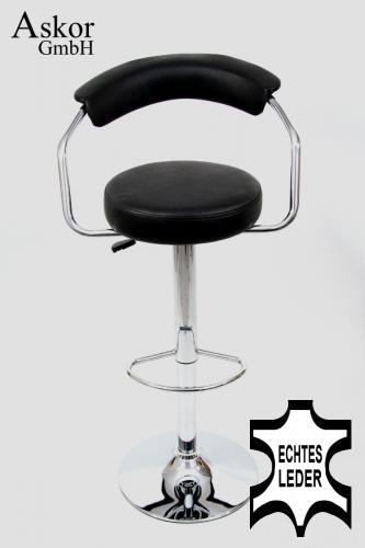 barhocker schwarz echt leder drehbar h henverstellbar. Black Bedroom Furniture Sets. Home Design Ideas