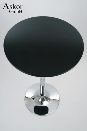 stehtisch schwarz rund holz mdf 84 104 cm h henverstellbar drehbar bistrotisch tisch. Black Bedroom Furniture Sets. Home Design Ideas