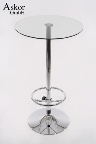 wohnzimmertisch rund: Tisch Bartisch rund runde Fußstütze Glas 104 cm Fußstütze