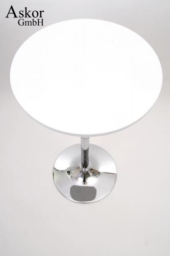 stehtisch wei rund holz mdf 84 104 cm h henverstellbar drehbar bistrotisch tisch bartisch. Black Bedroom Furniture Sets. Home Design Ideas