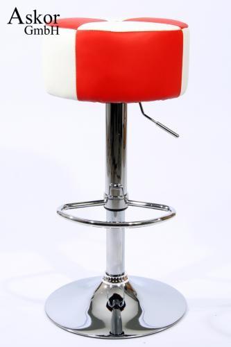 Tabouret De Bar Rougeblanc Simili Cuir Pivotant Réglable En Haute