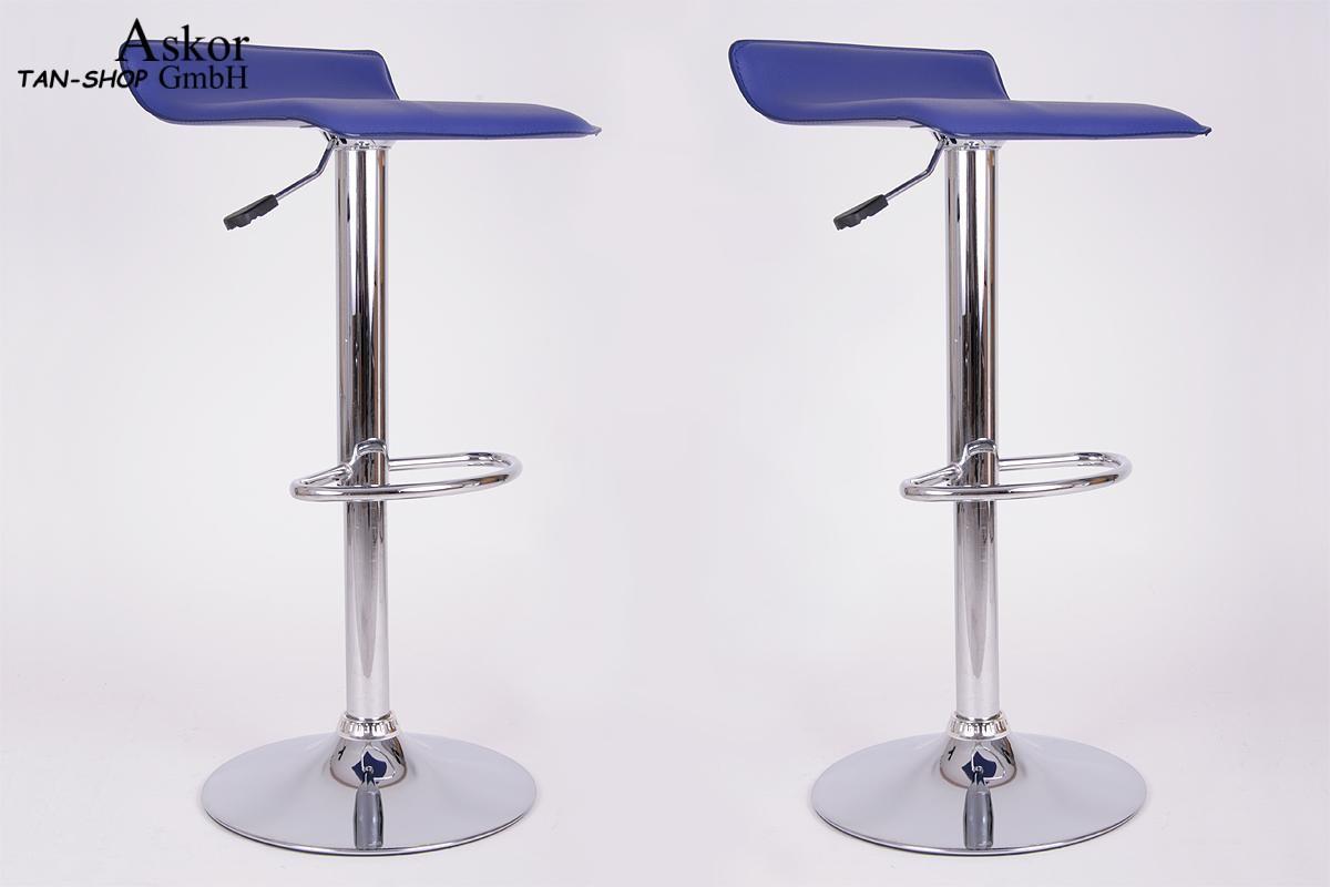 2x sgabello da bar blu finta pelle ruotabile regolabile in altezza