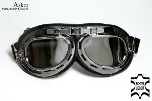klare Gläser Motorradbrille schwarz chrom Rahmen ECHTLEDER