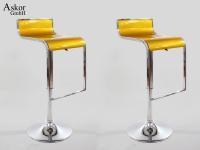 Weinroter Barhocker Sitz aus Kunststoff mit Design Chromfußstütze Sitzfläche